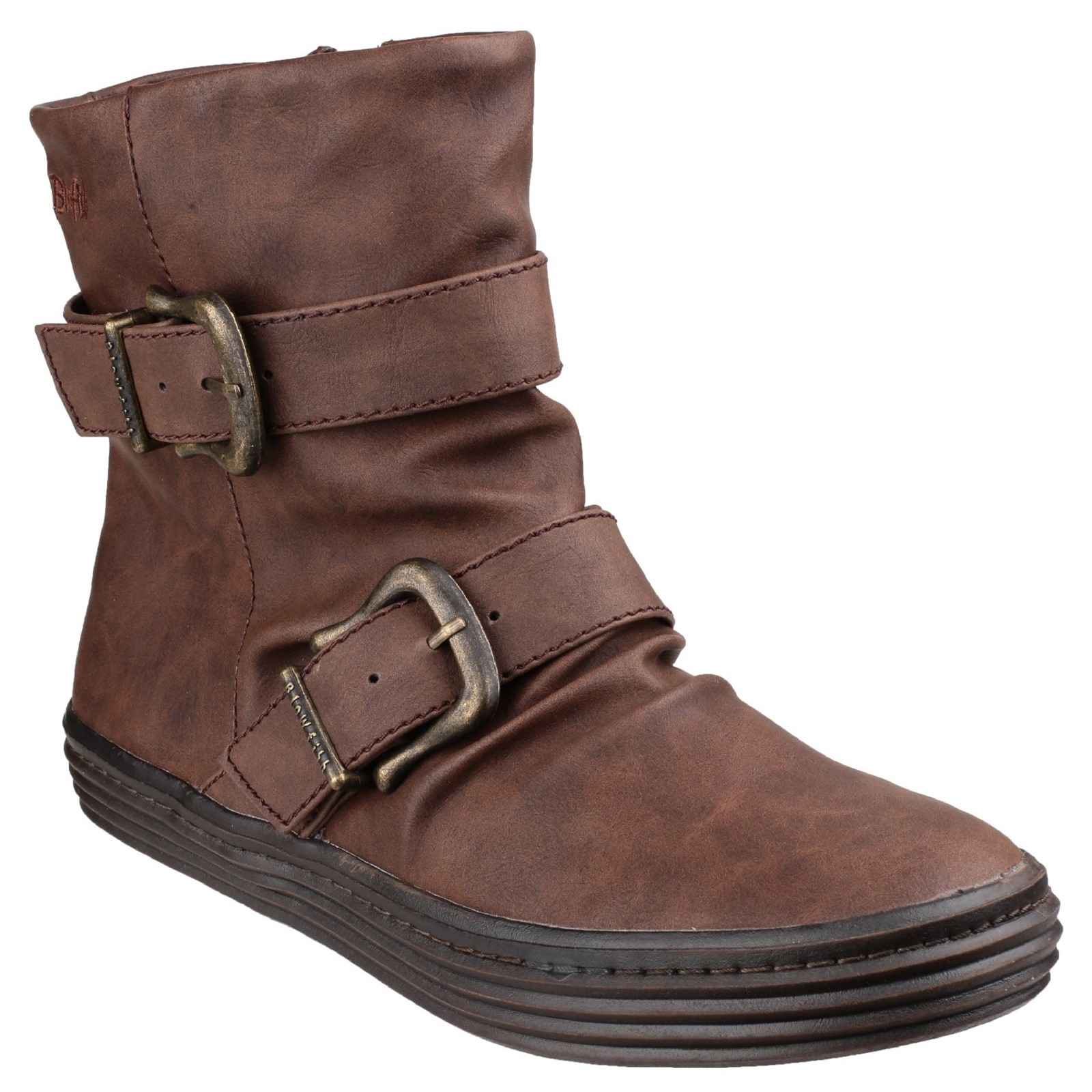 Blowfish Womens Octave  Texas double buckle boot Coffee Size UK 3 EU 36