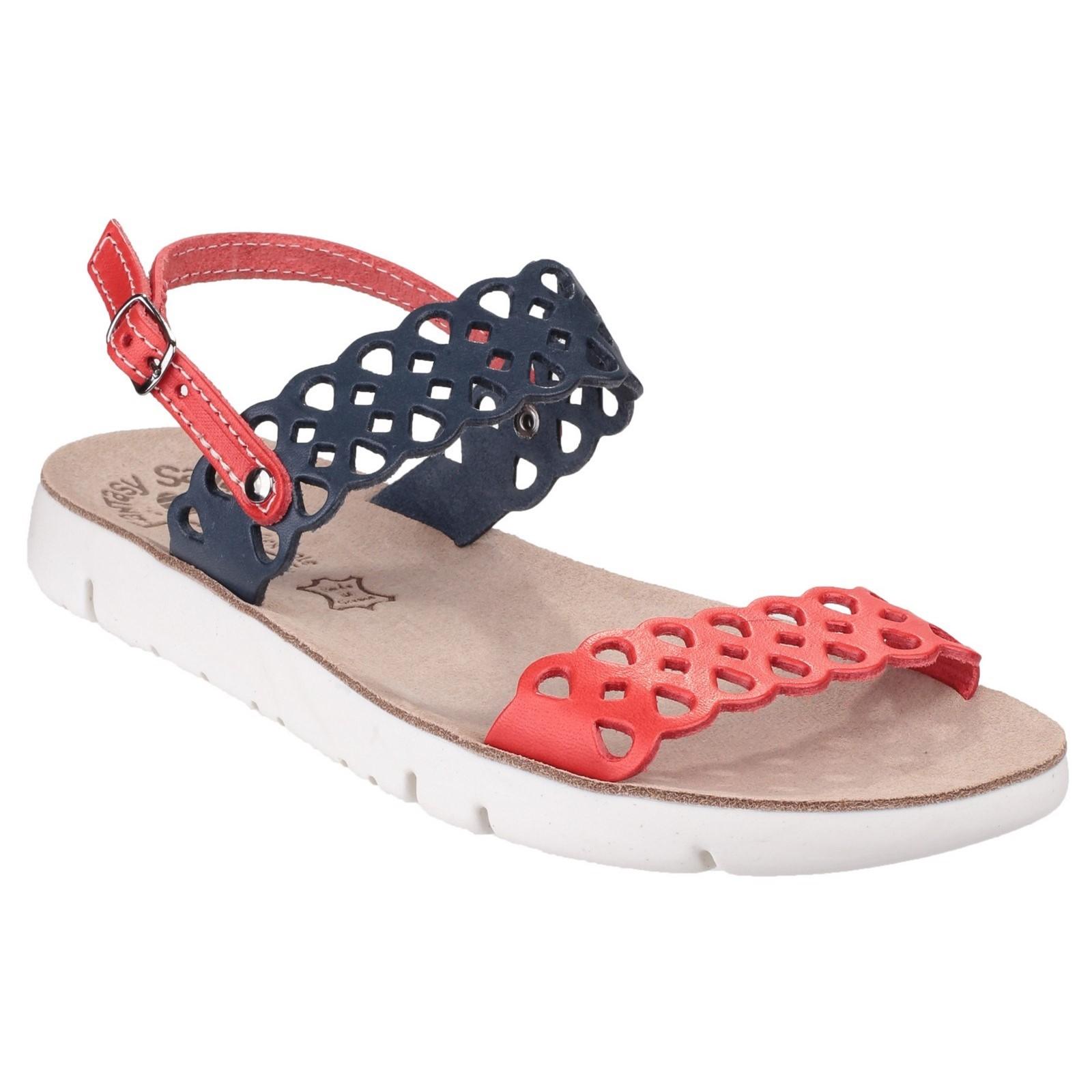 Fantasy Womens Piperi Ladies Summer Sandal Red bluee Size UK 4 EU 37