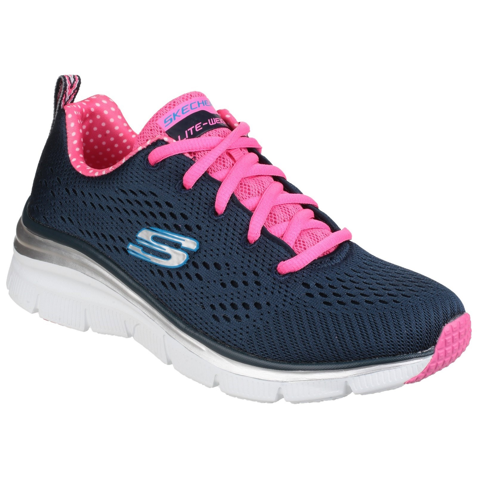 Skechers Womens Fashion Fit Statement Piece Trainer Navy Pink Size UK 5 EU 38